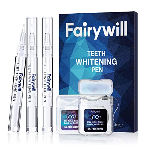 Fairywill Teeth Whitening Pen, 3 Pcs, 35 Percent Carbamide Peroxide, Teeth Whitener Pen for Sensitive Teeth, Enamel Safe Teeth Whitening Gel Pen, with 2 packs Dental Floss Remove Tough Stains