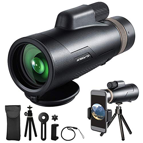 Monocular Telescope - ANSIOVON 12X50 HD High Power Monoculars for Adults - Smartphone Holder & Tripod - Waterproof Monocular with BAK4 Prism Dual Focus for Bird Watching Hunting Hiking Travelling