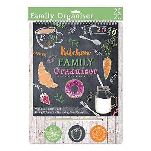Kitchen 3657 - Calendario organizador familiar de 2020 con pinzas y bolígrafo
