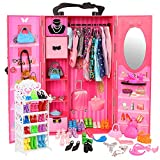 BARWA Fashion Closet Wardrobe 73 Pcs Doll Accessories 16 Pack Doll Clothes 1 Shoes Rack 55 Pcs Different Shoes Hanger Crown Necklace Doll Accessories Xmas Gift