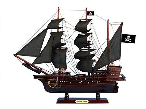 Wooden Black Pearl Black Sails Pirate Ship Model 20' - Boat Decor - Model Ship