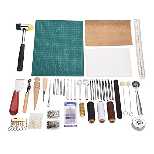 42 Pieces Leather Craft Tool Set,Hand Sewing Stitching,Saddle Making,Stamping Set,Rough Edges Trimmer,Professional Leather Tools for Artwork or DIY Leather Craft Project Tool Kit