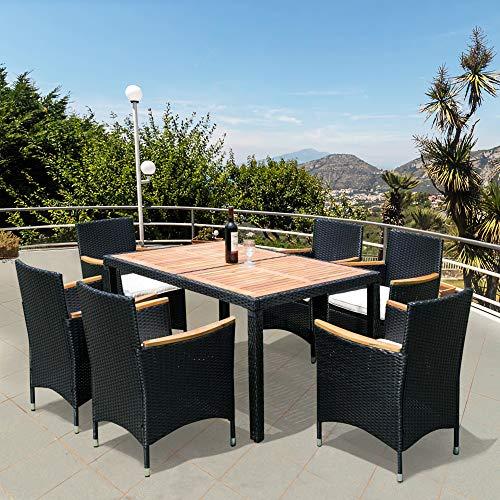 STARTOGOO Piece Patio Dining Set, Outdoor Rattan Wicker Furniture PE, Acacia Wood Tabletop,...
