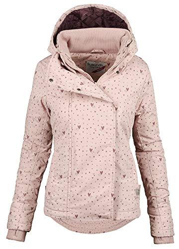 Sublevel Damen Herbst Übergangsjacke Winter warme Jacke Winterjacke Outdoor B167 (Gr.XS/Gr.36, Rosa-Muster)