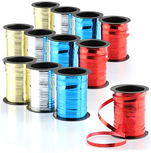 com-four® 12x Geschenkband Set edel glänzendes Dekorationsband - Schleifenband für Weihnachten und Geburtstage