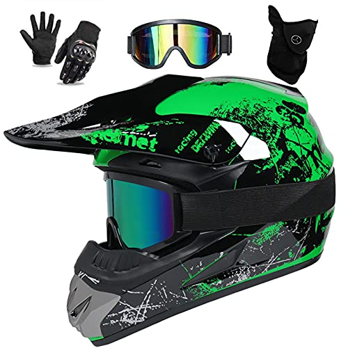 UIGJIOG Motocross Helm Kinder Grün Motorcycle Cross Helmet Inklusive Brille, Handschuhe Und Masken,Crosshelm Kinder MTB Helm Fullface Inklusive 4 Größen Helmfutter,Grün