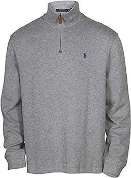 POLO RALPH LAUREN Men s Half Zip French Rib Pony Logo Cotton Pullover Sweater Grey Heather  XL