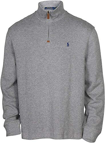 mens polo sweaters Polo Ralph Lauren Men's Half Zip French Rib Pony Logo Cotton Pullover Sweater, Grey Heather