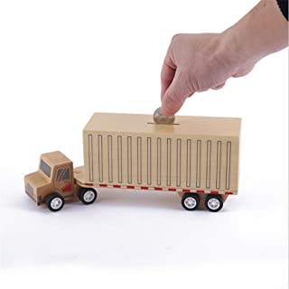 WEALTH One Piece Truck Bus Jeep Design Wooden Piggy Bank Toys for Kids Money Saving Coin Box Home Decoration Craft Over Time (Color : Truck)