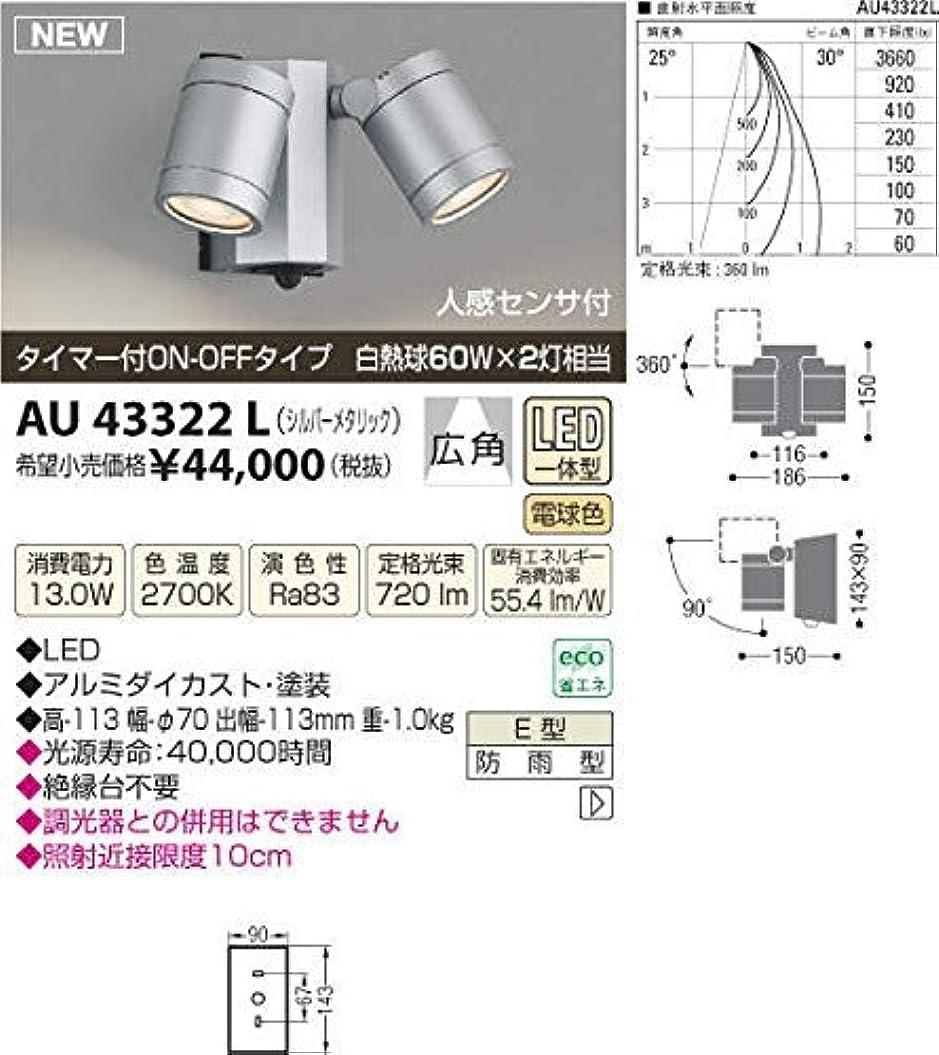 キャンベラ情熱むさぼり食うコイズミ照明 アウトドアスポットライト人感センサ付(白熱球60W×2灯相当)シルバーメタリック AU43322L