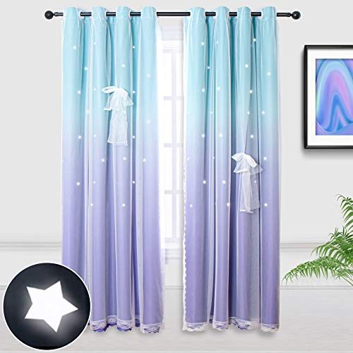 Hughapy Lilac and Turquoise Star Curtains for Kids Bedroom Girls Room Decor Ombre Curtains for Living Room Mermaid Themed, Room Darkening Window Curtains, 1 Panel - (52W x 63L, Green/Purple)