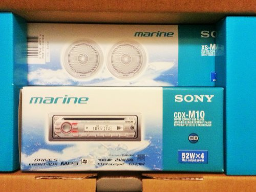 Sony CDXM10 Marine CD Receiver Slot and XSMP1610W Pair Sony Marine 6.5-Inch Dual Cone Speakers