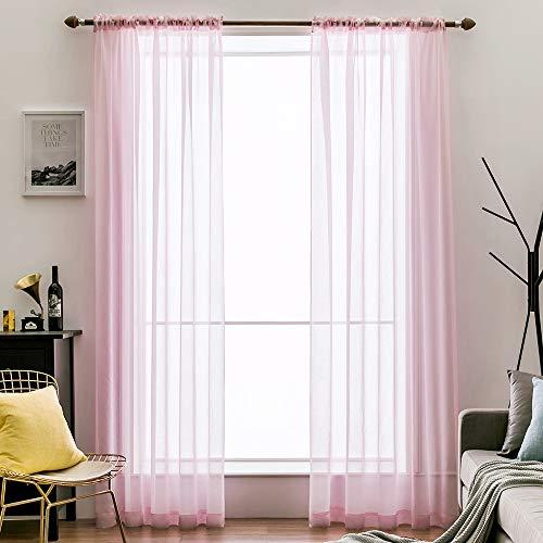 MIULEE 2er Set Sheer Voile Vorhang Stangedurchzug Transparente Optik Gardine aus Voile Polyester Fensterschal Transparent Wohnzimmer Schals Schlafzimmer Babyroom 140 X 145 cm (B x H), Rod Pocket