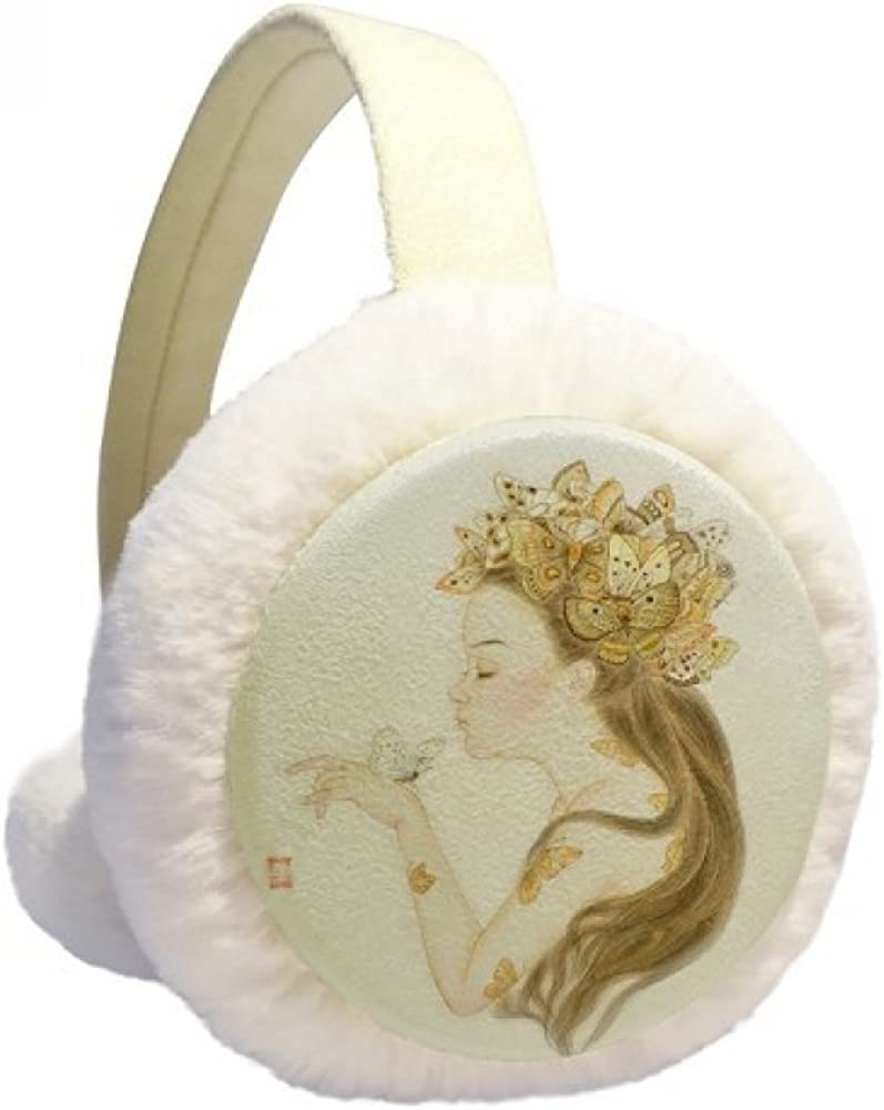 Pretty Girl Butterfly Chinese Painting Winter Ear 2021 Max 83% OFF K Cable Warmer