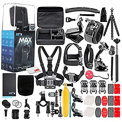 GoPro MAX 360 Waterproof Action Camera -with 50 Piece Accessory Kit - Camera W/Touch Screen - Spherical 5.6K30 HD Video - 16.6MP 360 Photos - 1080p Live Streaming Stabilization - All You Need by GoPro