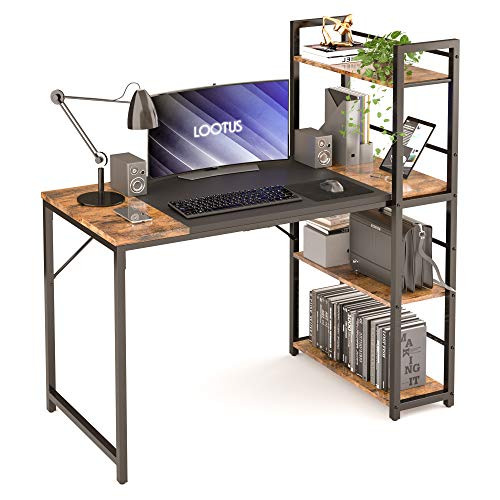 LOOTUS Computer Desk 47.2', Home Office Desks with Bookshelf, Small Desks for Small Space with 4 Storage Shelves on Left or Right, Easy to Assemble