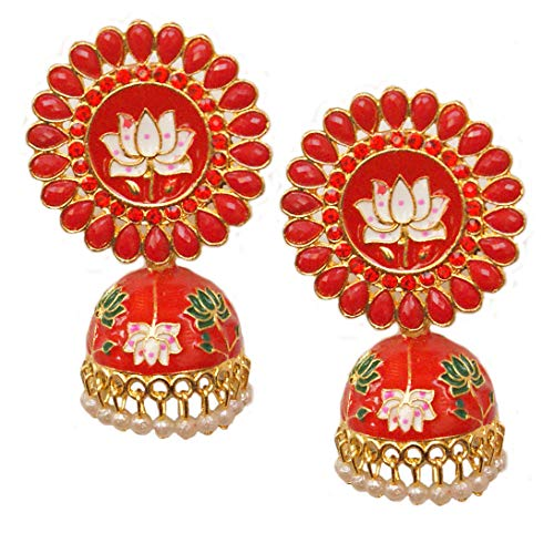 Pahal Traditional Red Kundan Meenakari Enamel Painted Big Gold Jhumka Earrings Indian Bollywood Polki Jewelry for Women