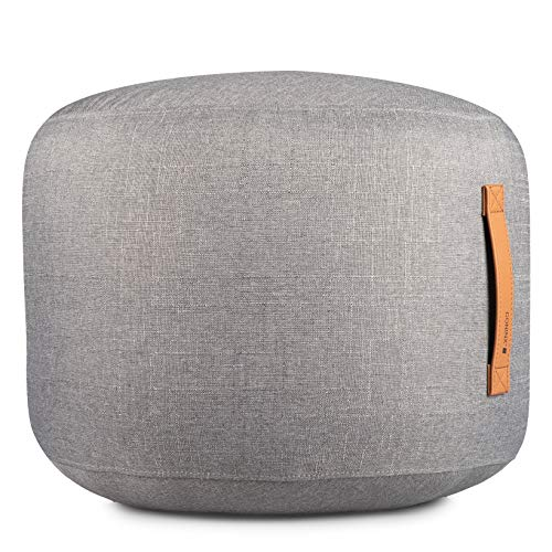 Coninx Sitzsack Leinen - Sitzhocker - Fußhocker - Pouf - Sitzpouf Rund Gefüllt mit Polyestyrolkugeln - Sitzsäcke - Mit Praktischem Ledergriff - Sitzhocker aus 100% Wolle - Maße 50 cm x 40 cm
