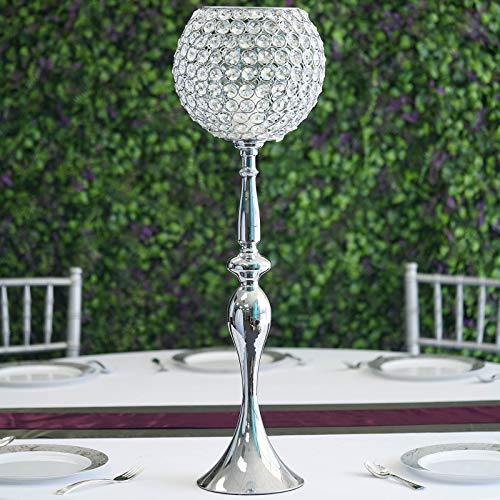 """Tableclothsfactory 30"""" Silver Acrylic Crystal Goblet Candle Holder Flower Ball Centerpiece for Wedding Events Decoration"""
