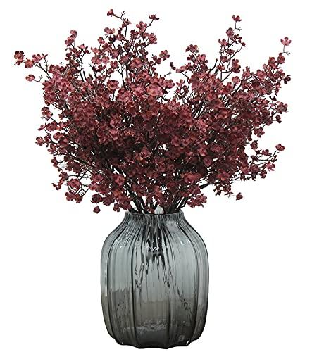 JAKY-Global 6 unidades de flores artificiales de seda falsa secas, para decoración de bodas, hogar, jardín, fiestas, decoración de flores (rojo otoñal)
