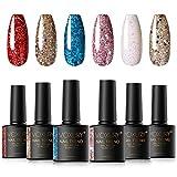 VOXURY Diamante Lentejuelas UV Gel Set de Esmalte de Uñas, 6 Colores Super Sparkling Glitter Esmalte Semipermanente Nail Art con Caja de Regalo 10ml
