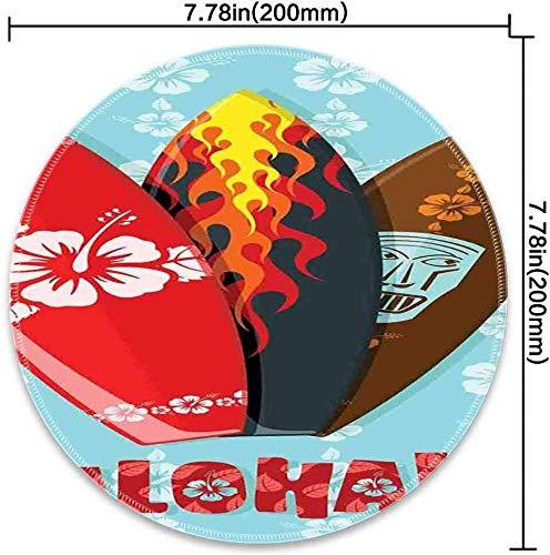 Runde Mausunterlage mit Brandungs-Illustration von modernen Aloha-Surfbrettern mit dem Hibiskus-Stammes- Masken-Flammen-Extremsport Mehrfarben