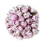 T4U Künstliche Rosen Kunstblumen Strauß Seide Lila 36er-Set für Wohnung Hochzeit Hotel Restaurant Deko