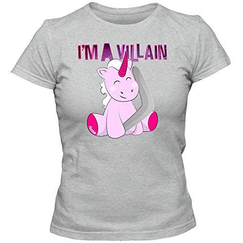Unicornio Pinky Camiseta | Mujer | Unicornio | Captain Boomerang | Caballo | T-Shirt, Couleur:Graumeliert (Grey Melange L191);Taille:Medium