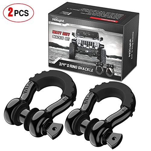 """Nilight - 90052B 2 Pack 3/4"""" D-Ring Shackle 4.75 Ton (9500 Lbs) Capacity with 7/8"""" Pin Heavy Duty Off Road Recovery Shackle with Isolators & Washer Kit for Jeep Truck Vehicle"""
