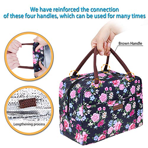 Insulated Lunch Bag, Flower Design with Large Capacity by RONAVO