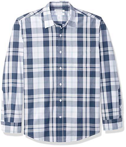 Amazon Essentials – Camisa informal de popelín de manga larga de corte recto estándar para hombre, White/Navy Large Plaid, US S (EU S)