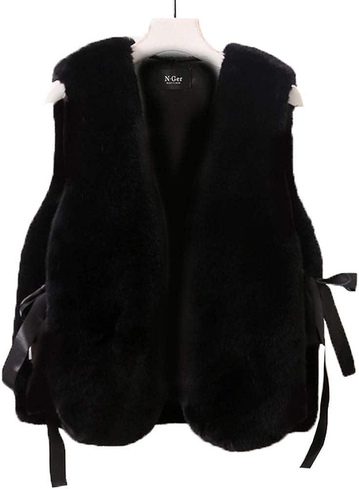 Yehopere Women Faux Fur Vest Fashion Jacket Lace Up Loose Winter Outerwear Coats
