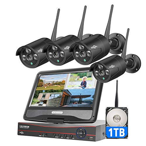 """[8CH Expandable] Hiseeu Wireless Security Camera System with 10.1"""" LCD 2K Monitor, 4Pcs 1296P Outdoor Indoor Cameras with One-Way Audio, Night Vision, Waterproof, Motion Detection, 1TB Hard Drive"""