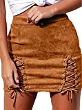 980 - Plus Size Lace Up High Waist Faux Suede Split Tight Stretch Mini Skirt (1X, Brown)