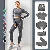 Conjuntos De Deporte Chándal para Mujer Conjunto Yoga Conjuntos Deportivos Sujetador Deportivo Manga Larga Pantalones Largo,Moda Casual 5Pcs