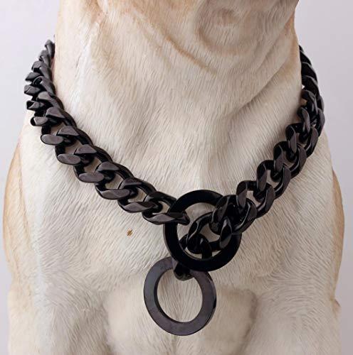 Hundehalsband Titan Stahl Edelstahl Schwarz Mittelgroße Und Große Hundekette Hundekettenhalsband Länge 12 Zoll-34 Zoll,20INCH