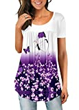Pleated Tops for Women Butterfly Floral Print Top White Purple Flare Tunic Summer L