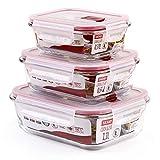 GlassFood - Lote de 3 Tapers Herméticos Rectangulares Tatay Cook&Eat de Vidrio de Borosilicato. Capacidades 0.37L, 0.64L, 1.1L