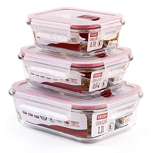 GlassFood - Lot de 3 boîtes à lunch rectangulaires hermétiques en verre borosilicaté. Capacités 0.37L, 0.64L, 1.1L