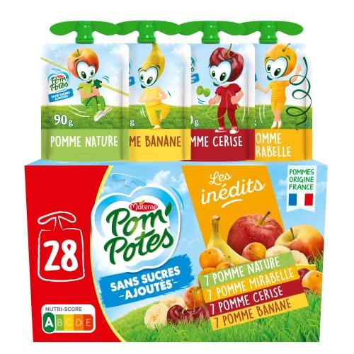 POM'POTES Compote Gourde Sans Sucres Ajoutés Pomme/Pomme Mirabelle/Pomme Banane/Pomme Cerise 28x90g
