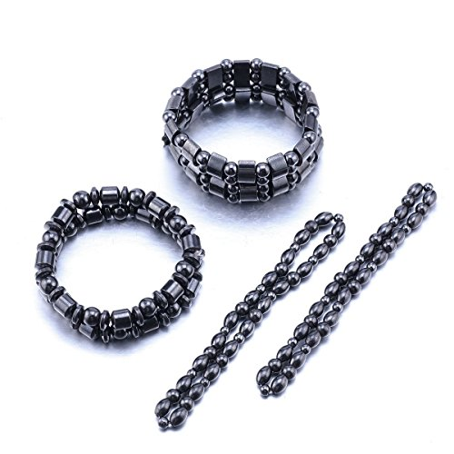 VIKI LYNN 2 Sets of Hematite Metal Megnetic Therapy Bracelets+2 Pcs of Magnetic Anklets Good for Health