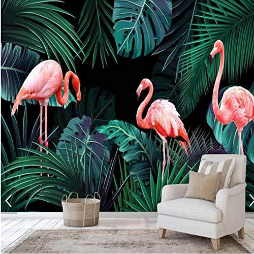 Pbbzl Flamingos Tropisch Palmbladeren Fotobehang Gedrukt fotobehang Papierrollen contactpapier Regenwoud behang gebruikergedefinieerd 280 x 200 cm.