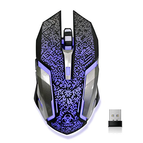 Wireless Gaming Mouse, VEGCOO C8 Silent Click Wireless Rechargeable Mouse with Colorful LED Lights and 2400/1600/1000 DPI 400mah Lithium Battery for Laptop and Computer (C9 Silver)