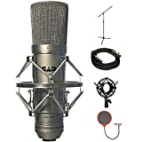 CAD Audio Large Diaphragm Cardioid Condenser Microphone (GXL2200) with Microphone Stand with Boom, XLR 10' Male to XLR Female Cable, Metal Microphone Shock Mount & Pop Filter Microphone Wind Screen