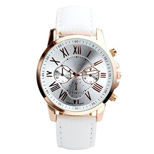 JSDDE Uhren, Damenuhr Armbanduhr Lederband analoge Uhr Quarzuhr Chrono Elegant Kleideruhr für männer Frauen(Weiß)