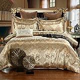 Ropa de cama de satén, 220 x 240 cm, microfibra jacquard, reversible, 3 piezas, 100% transpirable, agradable para los días calurosos en verano, diseño de flores, color gris, dorado