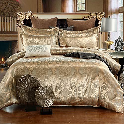 Ropa de cama de 135 x 200 cm, color dorado y beige, satinado, funda nórdica de 2 piezas, microfibra, dos piezas, jacquard, estampado floral, ropa de cama individual con cierre de cremallera