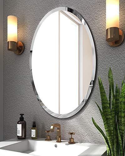KOHROS Oval Beveled Polished Frameless Wall Mirror for Bathroom, Vanity, Bedroom (24' W x 35' HOval)
