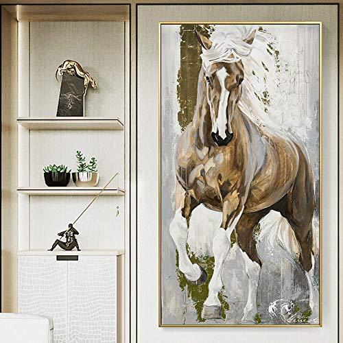 zzlzjjModerne paard canvas schilderij dieren muur poster schilderij groot formaat canvas schilderij voor woonkamer canvas schilderij geen frame70x90cm