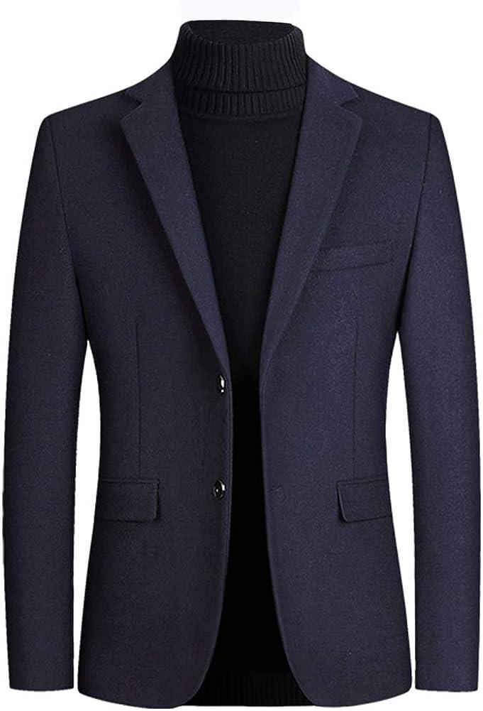 Boyland Men's Slim Fit Coat Wool Blend Classic Notch Lapel Trench Button Down Coat 4 Colors